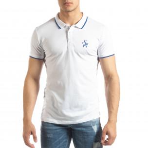 Tricou polo alb pentru bărbați cu logo