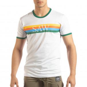 Tricou pentru bărbați alb cu dungi colorate