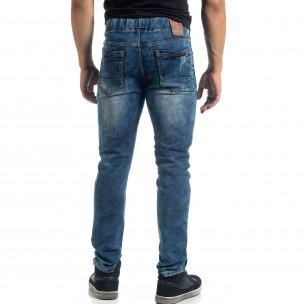 Blugi albaștri elastici pentru bărbați Jogger  2