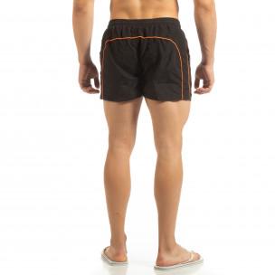 Șort de baie pentru bărbați negru cu bandă portocalie 2