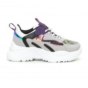 Pantofi sport de dama Chunky cu accente violet