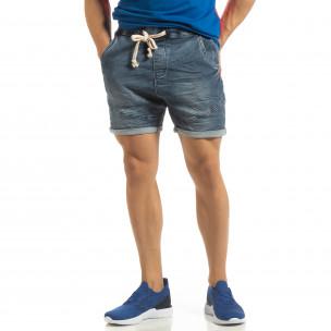Blugi scurți elastici albaștri pentru bărbați
