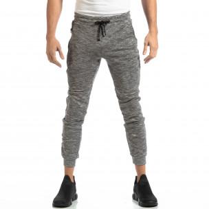 Jogger pentru bărbați din tricot în melanj gri  2