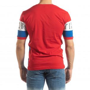 Tricou de bărbați în roșu, alb și albastru 2