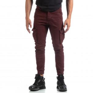 Pantaloni cargo șifonați în culoarea bordo pentru bărbați   2