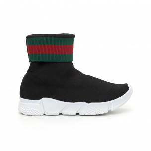 Pantofi sport de dama Slip-on negri cu dungi 2