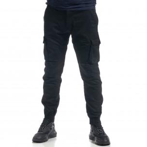 Pantaloni cargo negri flaușați pentru bărbați