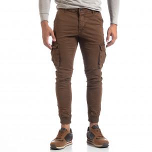 Pantaloni cargo șifonați în culoarea de cafea pentru bărbați  2