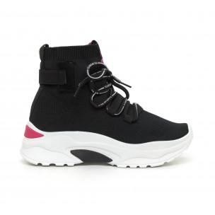 Pantofi sport de dama din țesătură neagră cu accent roz