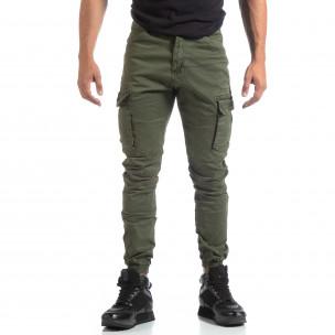 Pantaloni verzi de bărbați cu buzunare cargo 2