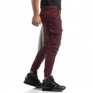 Pantaloni cargo șifonați în culoarea bordo pentru bărbați