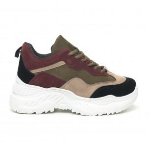 Pantofi sport de dama din velur cu părți colorate