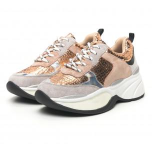 Pantofi sport voluminoși de dama șagrin în auriu Moom 2