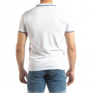 Tricou polo alb pentru bărbați cu logo 2