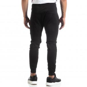 Biker Jogger de bărbați din tricot negru  2