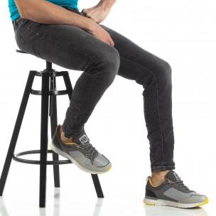 Washed Slim Jeans gri pentru bărbați
