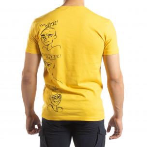 Tricou pentru bărbați galben cu imprimeu 2