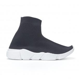 Pantofi sport de dama negri slip-on tip șosetă