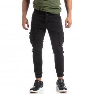 Pantaloni cargo șifonați negri pentru bărbați  2