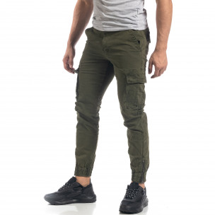 Pantaloni cargo de bărbați verzi cu fermoare 2