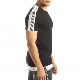 Tricou de bărbați negru cu margine albă