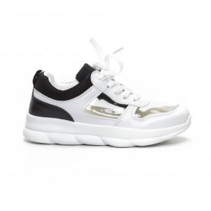 Pantofi sport de dama în negru și alb cu părți transparente