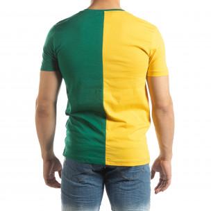 Tricou de bărbați în verde și galben cu imprimeu 2