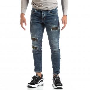 Blugi șifonați albaștri de bărbați cu patch-uri camuflaje Always Jeans