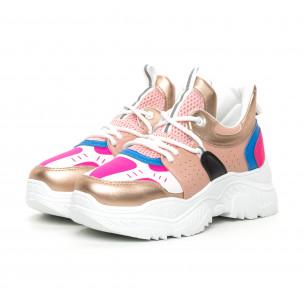 Pantofi sport de dama Chunky roz și albastru 2