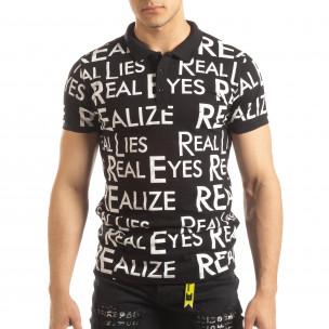 Tricou polo de bărbați negru cu inscripții