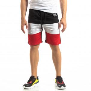 Pantaloni scurți sport negri de bărbați cu alb și roșu