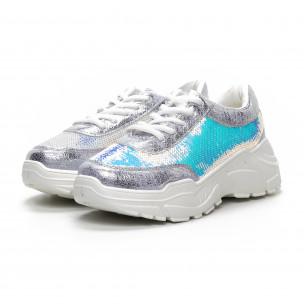 Pantofi sport Chunky de dama cu paiete argintii 2