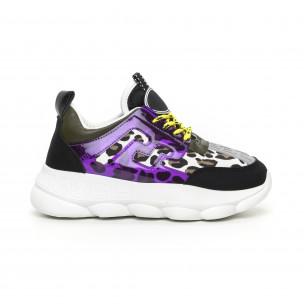 Pantofi sport de dama negri cu accente Mix