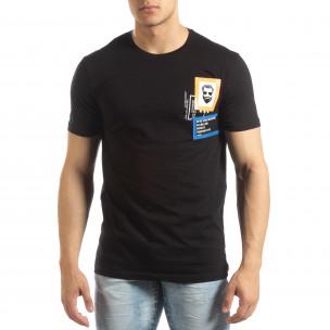 Tricou negru pentru bărbați cu aplicații din cauciuc