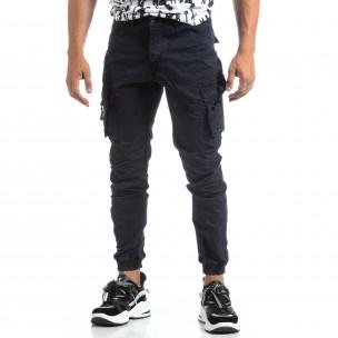Pantaloni bleumarin de bărbați cu buzunare cu fermoar 2