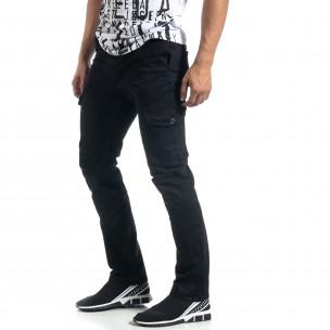 Pantaloni cargo negri drepți pentru bărbați