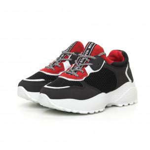 Pantofi sport ușori pentru dama roșu și negru 2