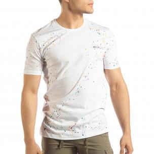 Tricou alb pentru bărbați cu spray de vopsea