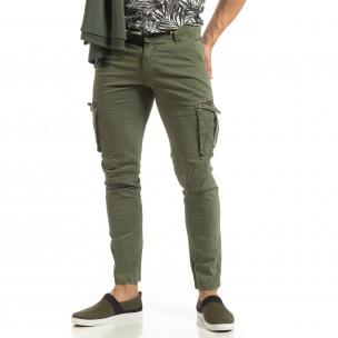 Pantaloni cargo verzi drepți pentru bărbați  2