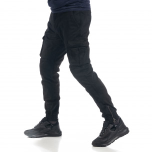 Pantaloni cargo negri flaușați pentru bărbați 2
