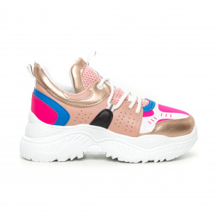 Pantofi sport de dama Chunky roz și albastru