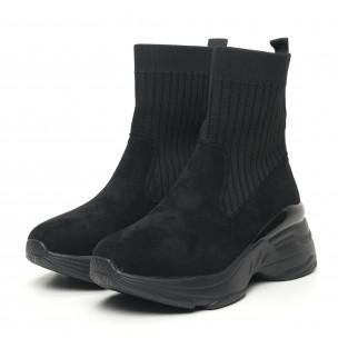 Pantofi sport de dama negri tip șosetă cu talpă voluminoasă 2