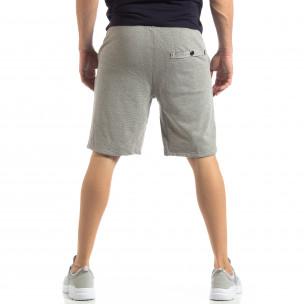 Pantaloni sport scurți gri cu dungi de bărbați 2