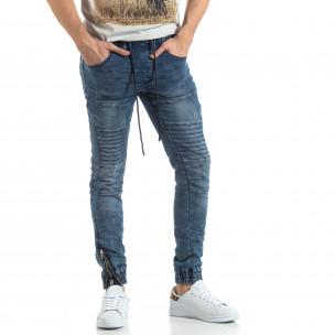 Jogger Jeans albastru pentru bărbați stil Rocker Leeyo