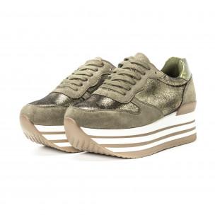 Pantofi sport cu platforma pentru dama în verde militar 2
