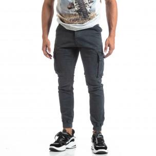 Pantaloni cargo gri de bărbați cu manșete din tricot 2