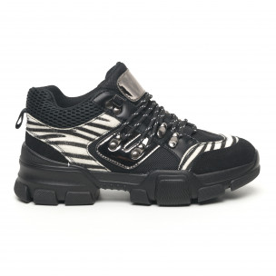 Pantofi sport de dama tip Hiker negru și zebră Moom