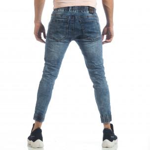 Skinny Jogger de barbați albastru cu efect șifonat 2