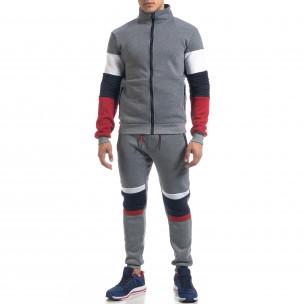 Set sportiv de bărbați gri flaușat Biker style Flex Style