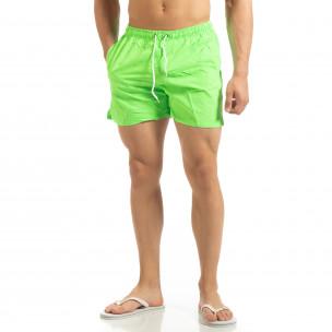 Șort de baie verde neon Basic pentru bărbați